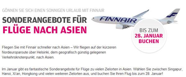 Finnair Asien Angebote Januar 2013