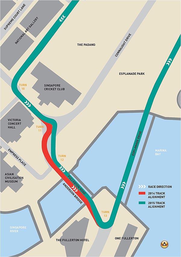 Die geänderte Streckenführung (grün) beim Singapur Grand Prix 2015 - Quelle:singaporegp.sg